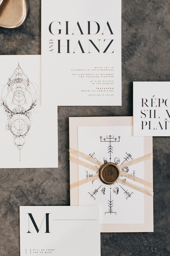 Modern boho wedding stationery set