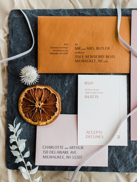 Rust and blush modern wedding invitations