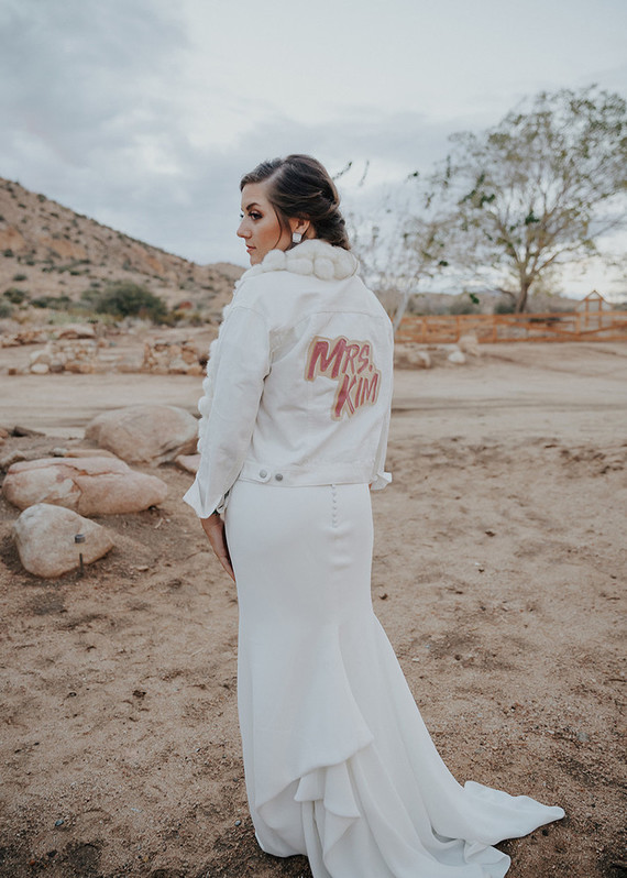 white leather jacket for bride