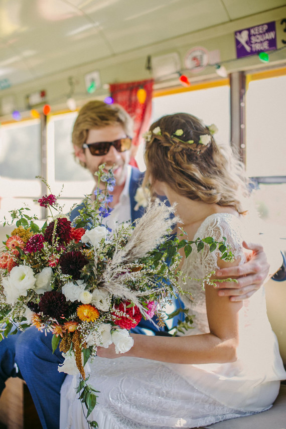 bride and groom on a Gillibus in the Anderson Valley