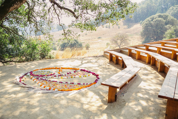 Floral mandala for wedding ceremony in the Anderson Valley
