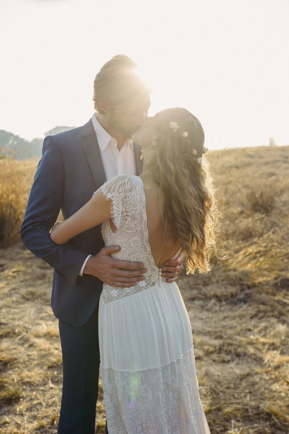 beautifully rustic Anderson Valley wedding with a hippie bus and floral mandala