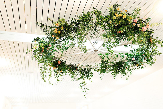 floral ceiling wreath installation