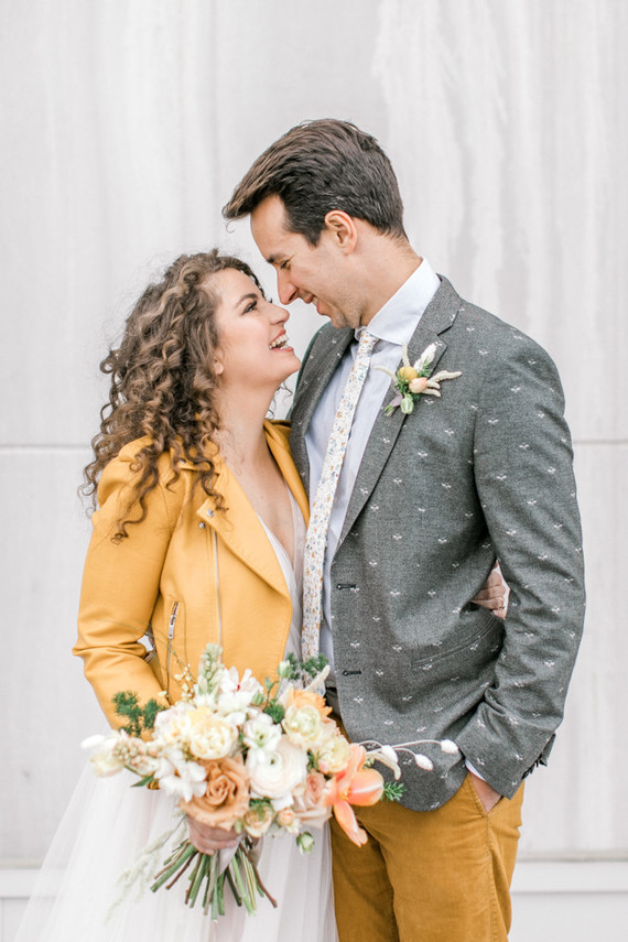 mustard and grey wedding fashion for bride and groom
