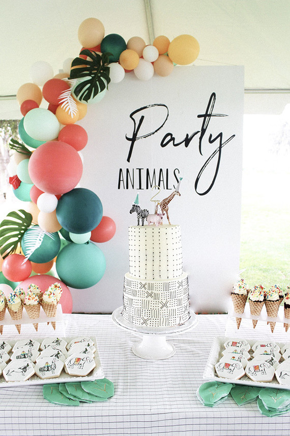 Modern Party Animal themed 2nd birthday