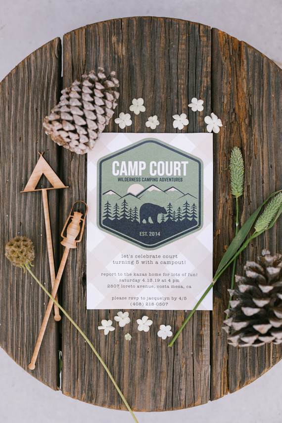Camp-themed invitations