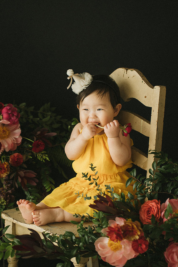 Elegant floral first birthday Korean Dol with peonies