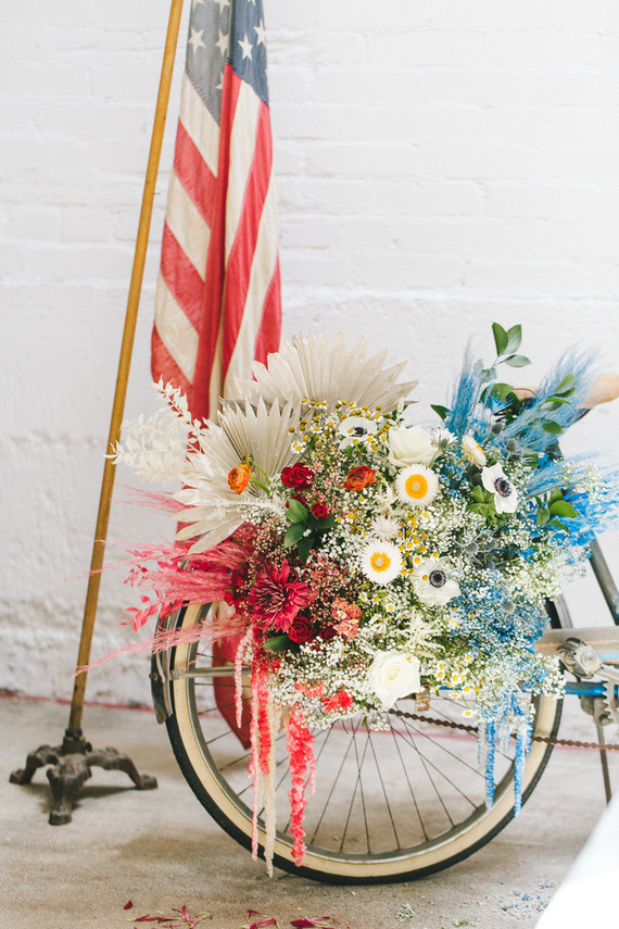 red, white and blue flowers for 4th of July