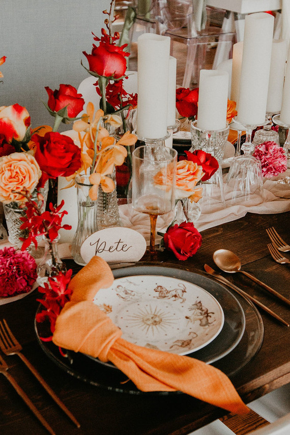 Orange and red wedding decor