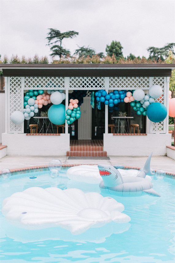 Pool party with balloons