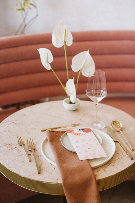 French wedding at a pink restaurant