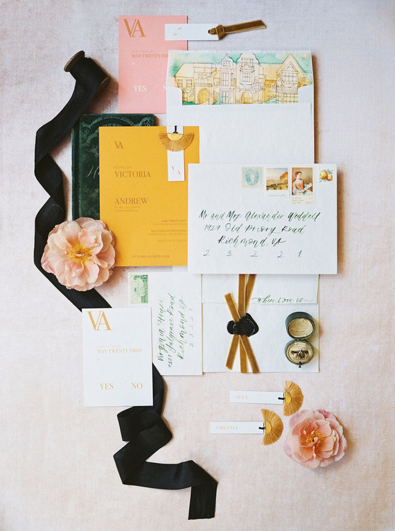 Gold and emerald wedding invitations