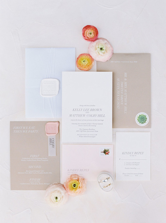 Romantic summer wedding invitations