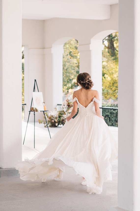 Off shoulder wedding dress