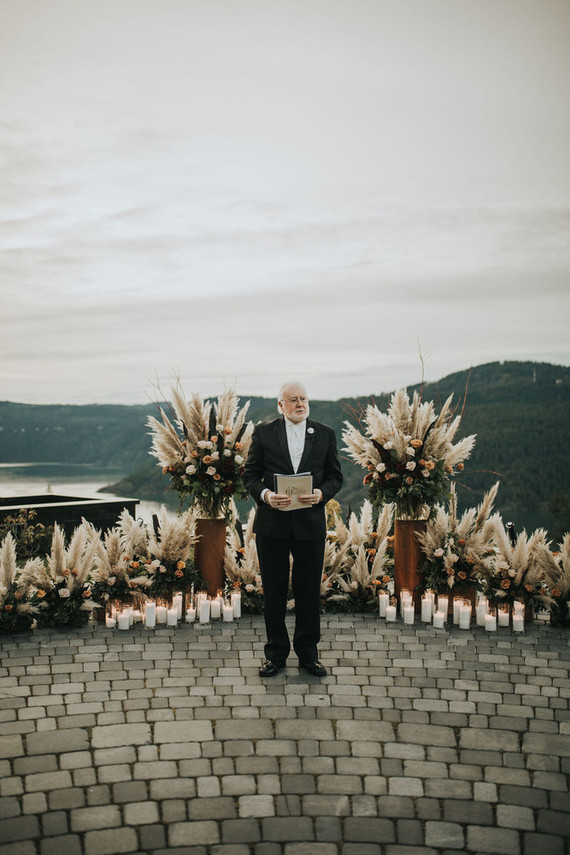Pampas grass wedding ceremony