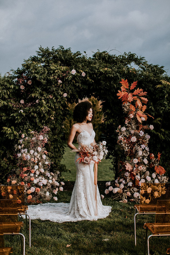 Fall floral ceremony arch