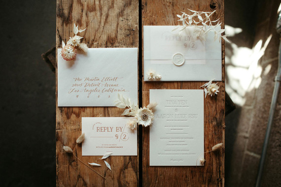 blush and cream wedding invitations