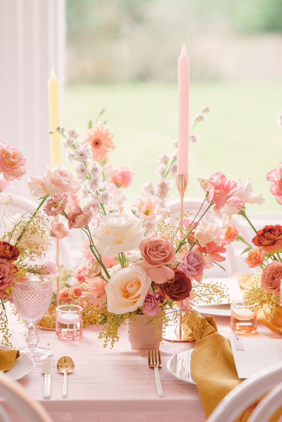 modern pink and ochre wedding tablescape