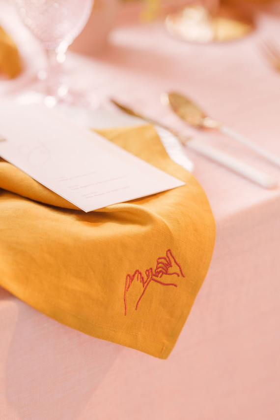 mustard and pink place setting