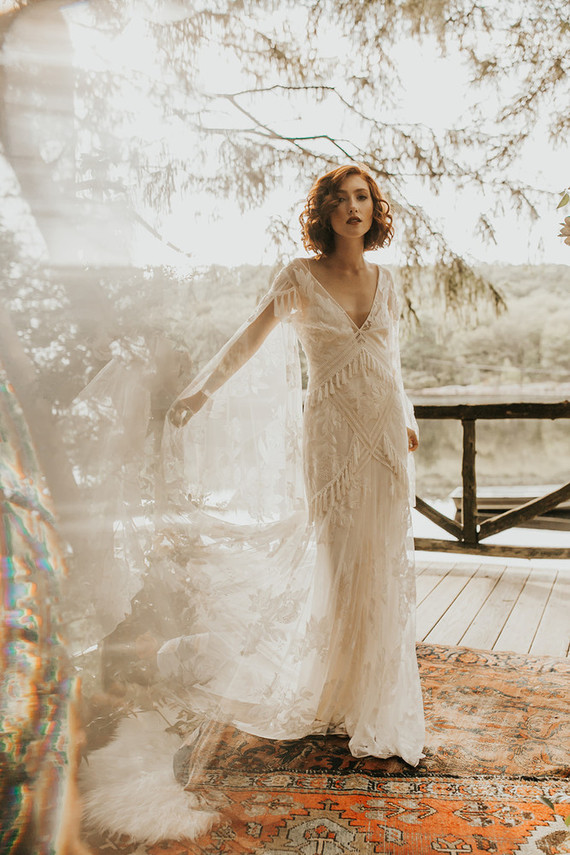 romantic bridal gown for fall wedding