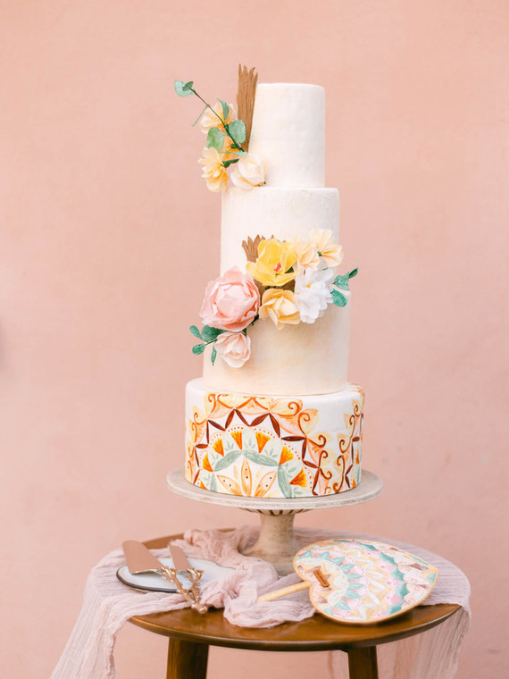 Colorful costa rica wedding cake