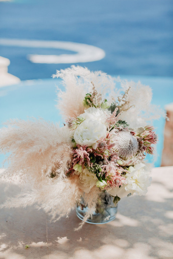 Pampas grass and king protea bouquet