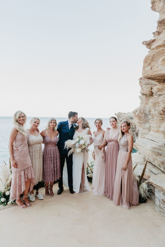 Mixed pink bridesmaid dresses