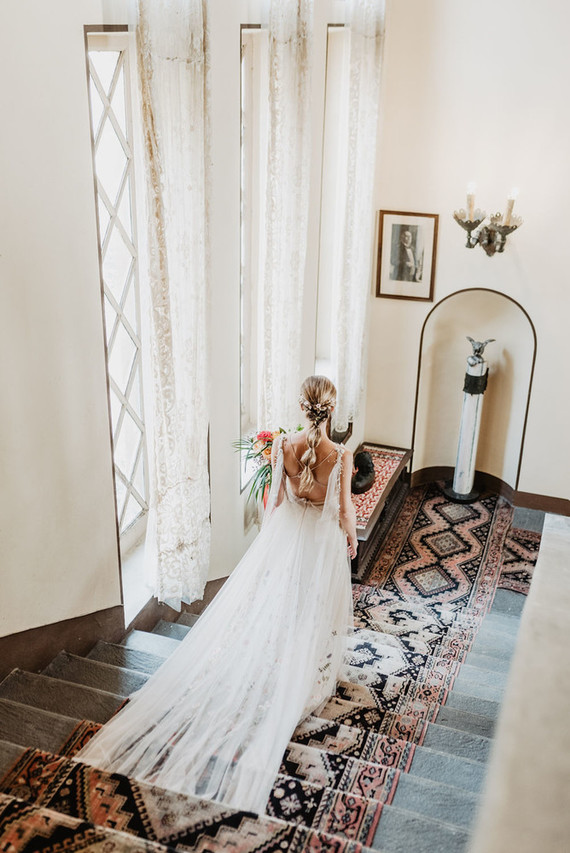 Floral wedding dress with cape