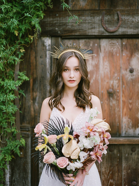 gold painted wedding flowers