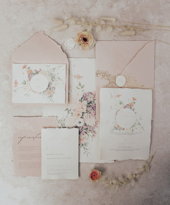 romantic spring wedding invitations