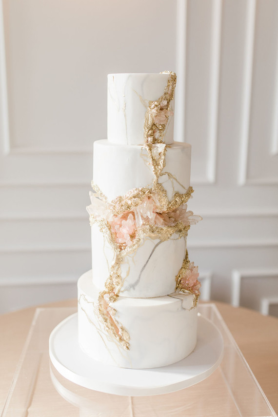 Crystal inspired wedding cake