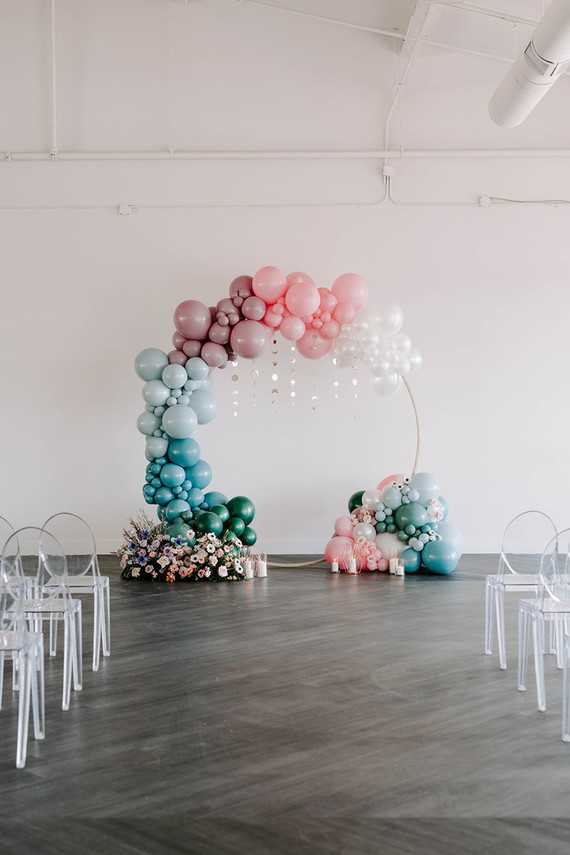 Modern balloon arch wedding