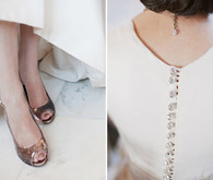 Metallic Shoes and Crystal Buttons
