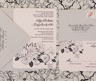 Black and White Floral Invitations