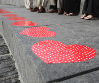 Red Heart Ceremony Decor