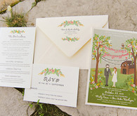 Illustrated Farm Wedding Invitations