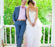 soft pink and white wedding attire