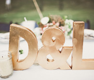 Gold initial wedding signs