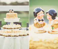 Gold accented cake + cupcakes