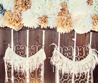 Pom and Fringe Bride and Groom Chair Decor