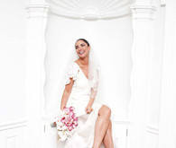 Bride in white and orchids