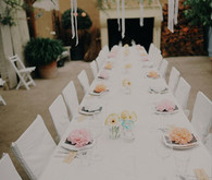 white tablescape with pops of color