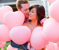 Pink Heart Balloons Wedding Day Portrait