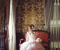 Blush wedding dress portrait