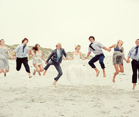Jumping Bridal Party Portrait