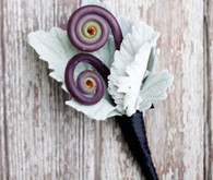 Purple and Green Unique Boutonniere