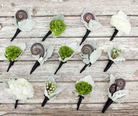 Purple, White and Green Boutonnieres