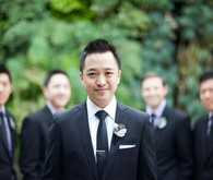 Sharp Black Suit Grooms Attire