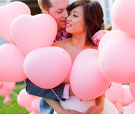 Pink heart balloon wedding portrait
