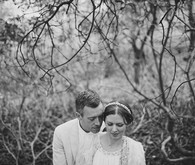 Black & white wedding portrait in the woods